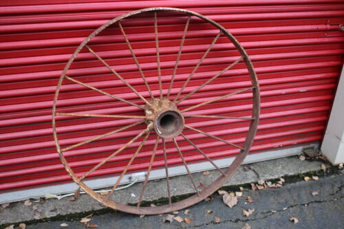 "LARGE Antique Wagon Tractor Wheel Metal 18 Spoke 43"" Tall #1 Country Americana"