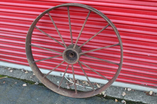 "LARGE Antique Wagon Tractor Wheel Metal 14 Spoke 40"" Tall Country Decor #1"