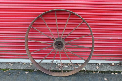 "LARGE Antique Wagon Tractor Wheel Metal 14 Spoke 40"" Tall Country Decor #2"