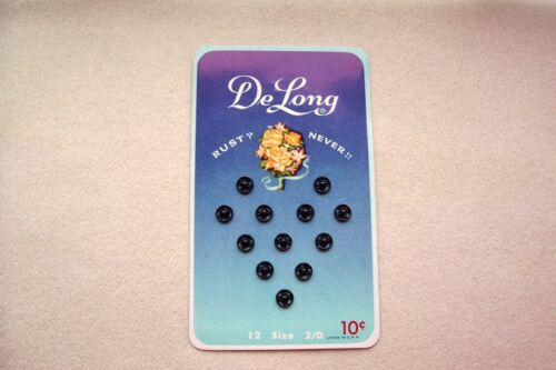 Vtg Collectible Card of SNAP Fasteners DeLong Size 2/0