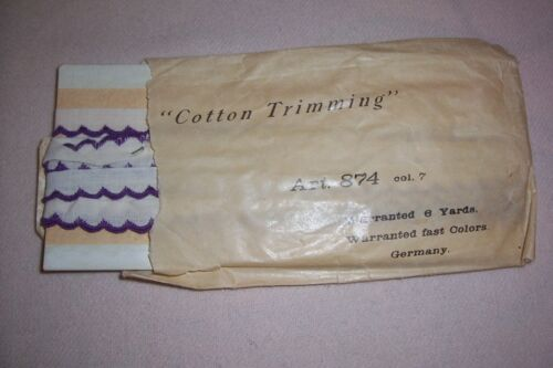 Vtg Card Cotton Embroidered Lace Trim for  Antique Sewing Project Dolls/Crafts