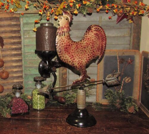 Primitive Antique Vtg Style Farm Barn Yard Metal ROOSTER Chicken WEATHER VANE