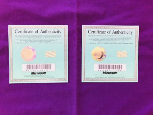2 X Microsoft - Certificates Of Authenticity. BRAND NEW. Rare & Collectable.