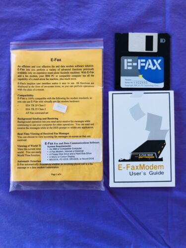 "E-Fax: Vintage Data Communication Software. NEW Rare & Collectable. 3.5"" Discs."