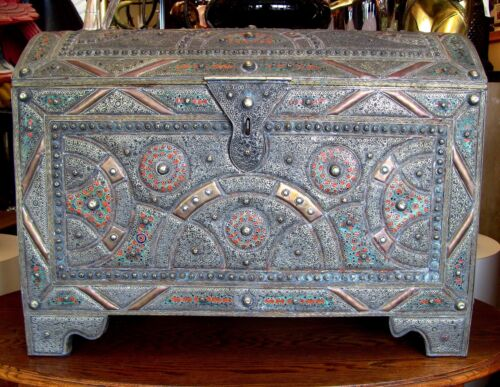 Antique Middle Eastern Dowry Chest, Tooled Metal / Copper, Enamel W/Curved Lid