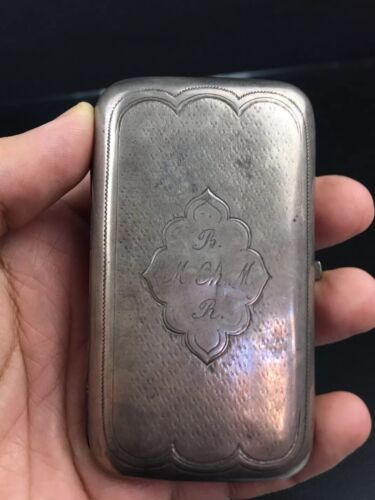 Very Nice Antique Russian Silver Cigarette Cigar Case With Early Hallmarks