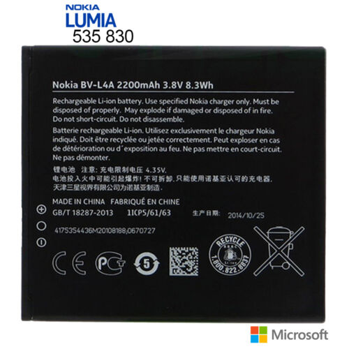 For Nokia Lumia 535 830 Original Internal Battery Replacement 1905mAh BV-L4A New
