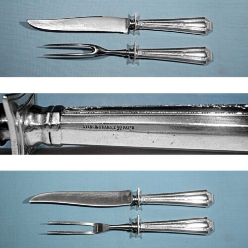 DURGIN STERLING 2-PIECE ROAST CARVING SET ~ COLFAX ~ NO MONO