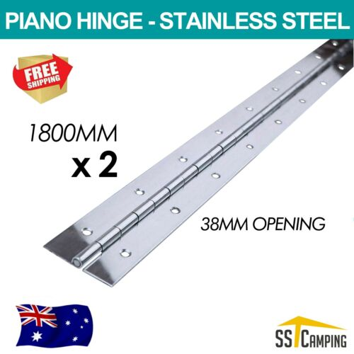 1800mm x2 Piano Continuous Hinge Drilled Stainless Steel Boat Truck Trailer Aus