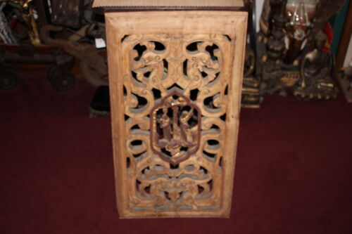 Large Antique Chinese Wood Carved Panel Dragons Man Woman Scrolls