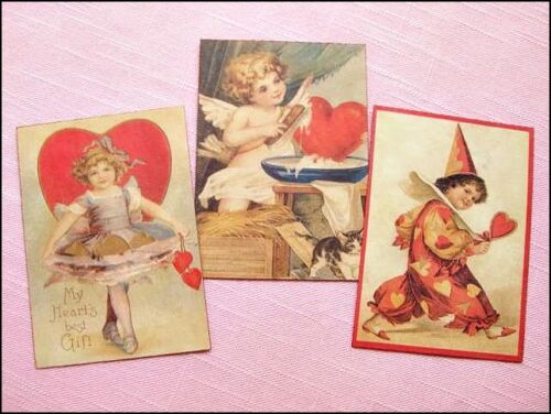 Set of 18 Vintage VALENTINE Antique Look LABELS VICTORIAN Primitive Grungy