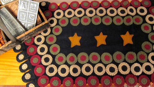 "PRIMITIVE PENNY RUG RUNNER. ""STAR STREAM"".   16"" by 34"".   JUST BEAUTIFUL!"