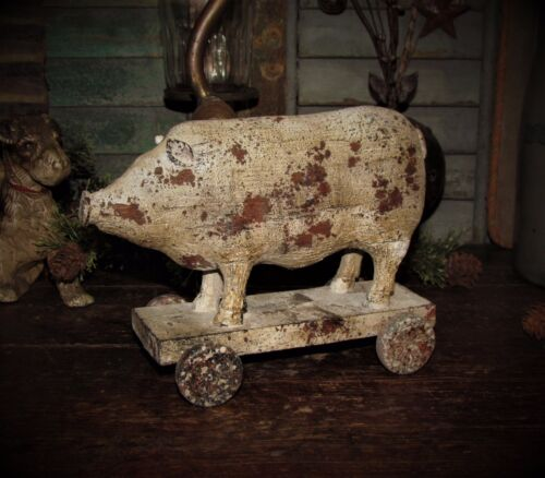 Primitive Vtg Style Rural Country Farm Barn Yard Pull Toy Hog PIG ON WHEELS