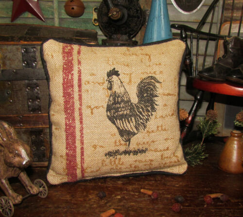 """Primitive Antique Vtg Style Country Farm Barn Yard ROOSTER CHICKEN 9"""" PILLOW"""