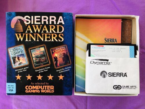 """King's Quest V Red Baron Rise Of The Dragon. SIERRA (1992) 5.25"""" Discs. LIKE NEW"""