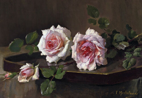 Superb 19th C Painting Pink French Roses Still Life Canvas Print A3