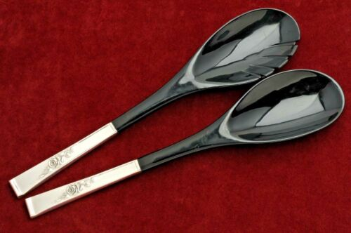 Classic Rose by Reed & Barton Sterling 2 piece Salad Set w/ Black Acrylic Bowls