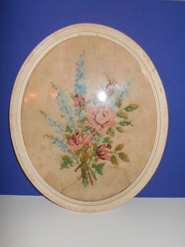 """Large Vintage Oval Framed Cross Stitch Wall Picture Floral Roses 18"""" x 15"""""""
