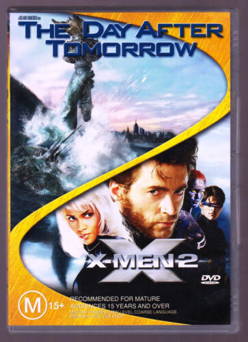 LIKE NEW The Day After Tomorrow / X-Men 02 (DVD, 2005, 2-Disc Set) DVD R4
