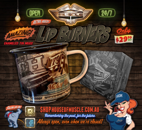Holden EH Oil Can metal mug LIP BURNERS from House of Muscle