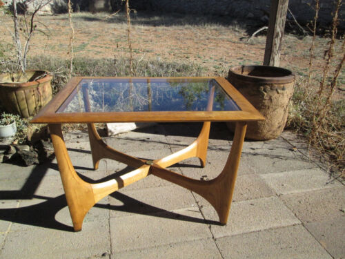 Lane Walnut Glass Top End Table Vintage Mid Century Modern Adrian Pearsall 30x23