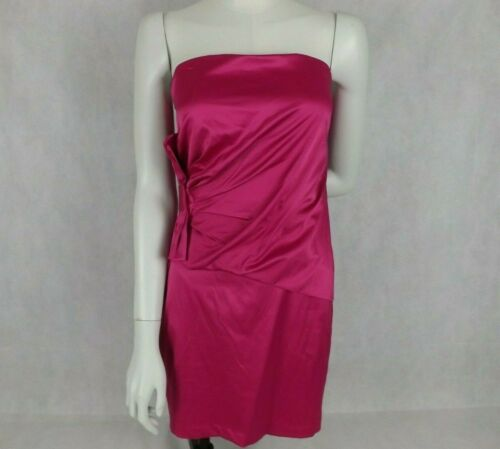 Womens Free Fusion Size 10 Dress Pink Short Strapless Satin Side Bow BNWT Party