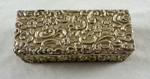 ANTIQUE HALLMARKED STERLING SILVER SNUFF TRINKET BOX WALKER & HALL BHAM 1900