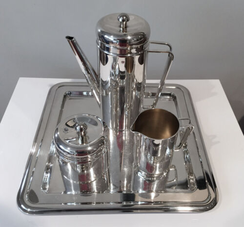 Mid-Century Modern PM Italy Fine Italian Silver Plate Coffee Service