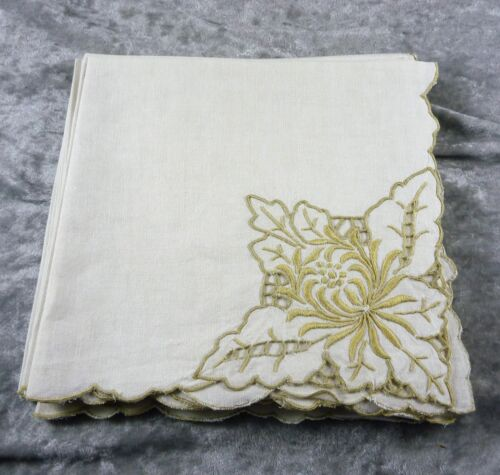 VINTAGE/ESTATE 6  COTTON  ECRU TABLE NAPKINS SERVIETTE  EMBROIDERED 42X40 16830