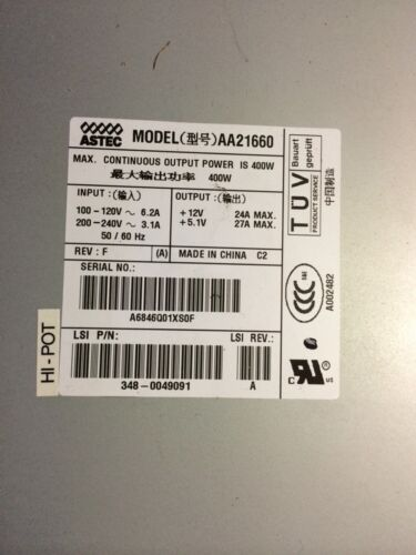 Astec IBM AA21660 P/N 348-0049091 SUN 400W CONTINUOUS POWER SUPPLY