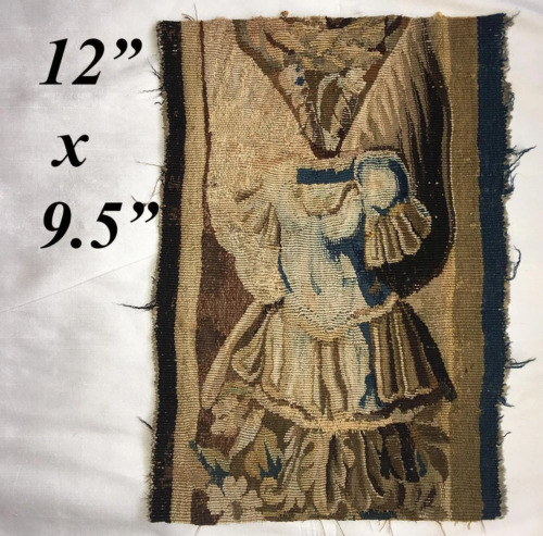 """Antique French or Flemish Tapestry Fragment, Panel, Knight's Armor 12.5"""" x 9.5"""""""