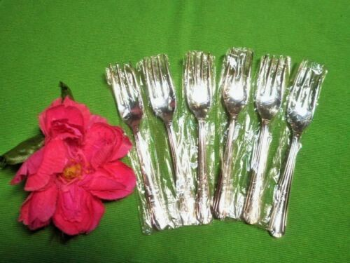 VINTAGE CAKE FORKS X6 SILVER PLATED NSWG GROSVENOR DELPHIC UNUSED WEDDING 9avail
