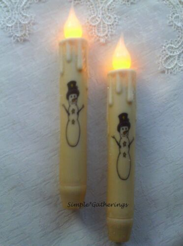 """SNOWMAN w/ TOP HAT TIMER Taper Candles Set of 2 LED 6 3/4"""" Tall Winter Glittered"""