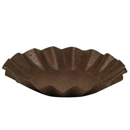 "Rusty Black Candle Pan Tray Fluted 3 3/8"" W Primitive Rustic for Pillar / Sm Jar"