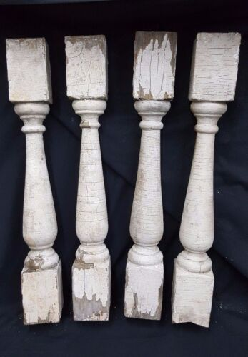 Architectural Salvage Wooden Spindle Balusters Set of Four