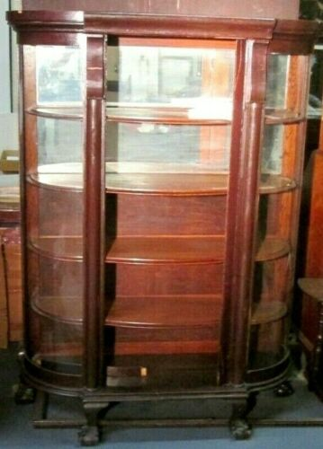 ANTIQUE OAK CURVED GLASS CHINA CUPBOARD W/BALL & CLAW FEET ESTATE AS IS BARGAIN!
