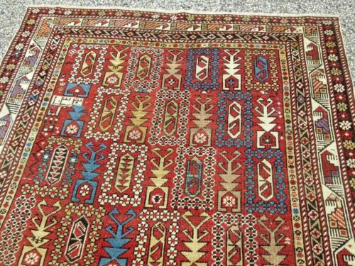 ANTIQUE MARASALI SHIRVAN CAUCASIAN DATED RUG FROM HYDE PARK ESTATE COLLECTIBLE