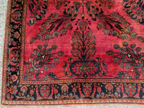 ANTIQUE ORIENTAL RUG  MAHAJERON SAROUK VERY PLUSH 4.1 x 6.4__ Estate #4