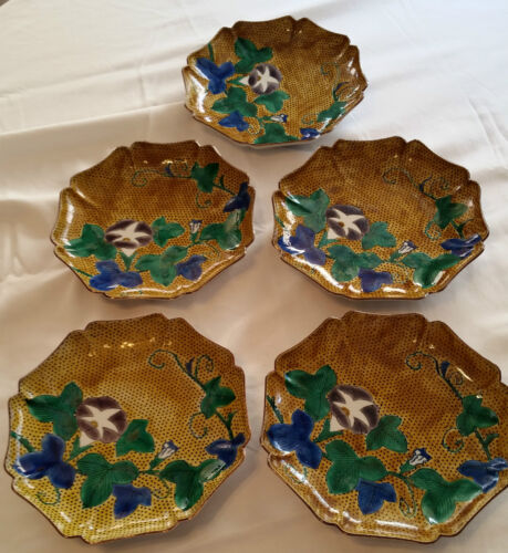 5 CONTEMPORARY JAPANESE FUKU KUTANI CHARGERS / PLATES - MORNING GLORY DESIGN