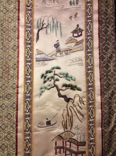 ANTIQUE EARLY 20th c CHINESE EMBROIDERED SILK PANEL FISHERMEN EMBROIDERY #2!