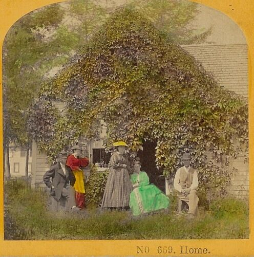 """""""Home"""" family Poses front of Ivy Covered House Kilburn Family? 1860s Stereoview"""