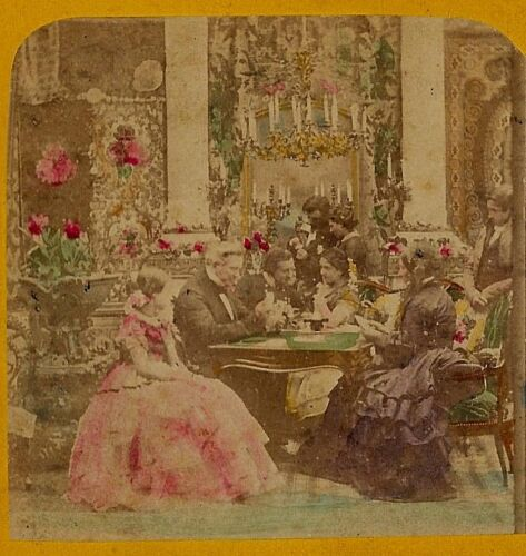 People Playing Cards in Salon 1860s B K France Tinted Stereoview
