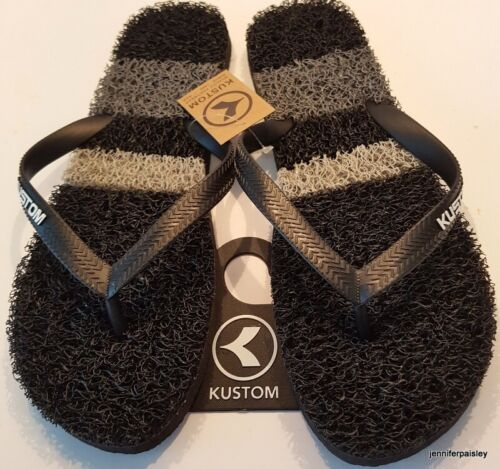KUSTOM NEW MENS THONGS FLIP FLOPS noodle SURF STRIP Black Grey White Stripe Logo
