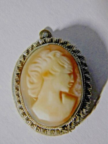 Wonderful Antique EARLY 20th Century VICTORIAN SHELL CAMEO in COIN SILVER