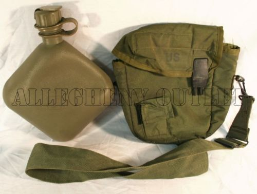 COLLAPSIBLE CANTEEN 2 QT QUART & 2QT OD COVER CARRIER & STRAP US Military Army Canteens - 156461