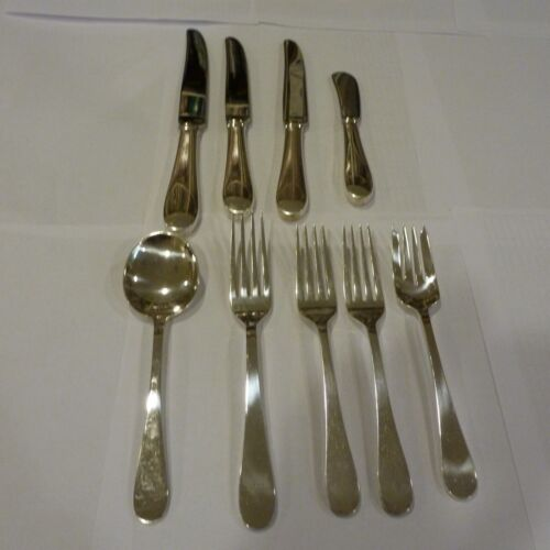 LOT TIFFANY & CO SALEM STERLING SILVER FLATWARE 9 SERVING PIECES