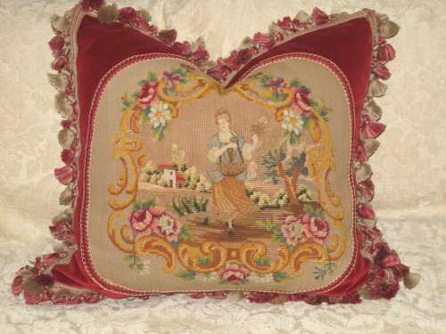 CHARMING ANTIQUE NEEDLEPOINT TAPESTRY~  WOMAN IN CARTOUCHE ON SCALAMANDRE VELVET