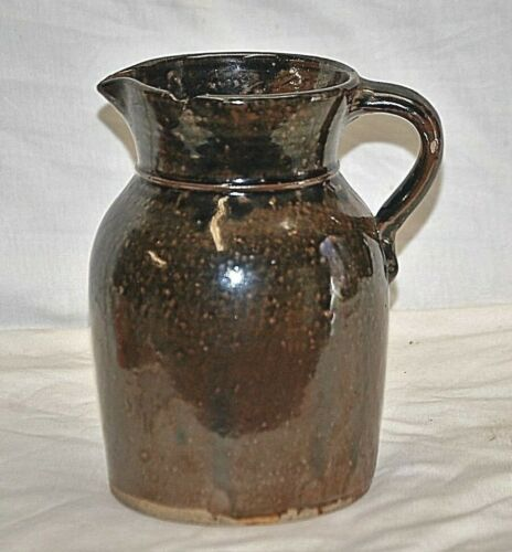 Old Vintage Antique Primitive Stoneware Crock Art Pottery Pitcher Kitchen Tool