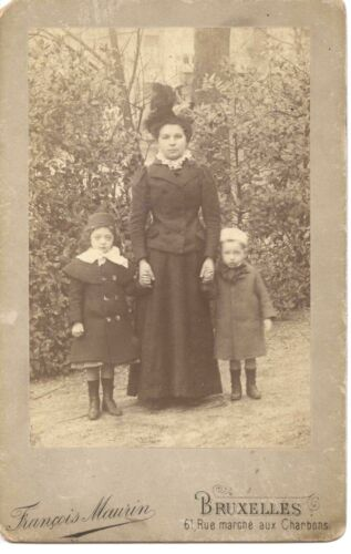 Antique Cabinet Card Photo Woman With Children Boy Girl Outdoor Brussels Belgium