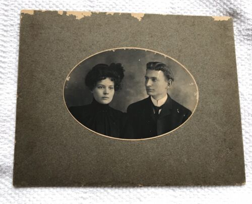 "Vintage Black & White Photo of Young Victorian Era Couple in Mourning 7"" X 9"""
